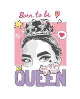 slogan della regina con la ragazza in una corona e illustrazione di icone colorate vettore