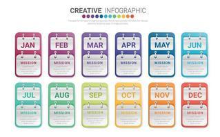 presentazione per tutti i mesi, modello di infografica per 12 mesi, 1 anno, può essere utilizzato per il concetto di business con 12 opzioni, passaggi o processi.
