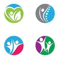 insieme di progettazione di immagini di logo di benessere