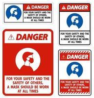 pericolo per la tua sicurezza e gli altri maschera in ogni momento segno su sfondo bianco vettore