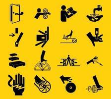 i segnali di pericolo, le etichette dell'icona dei pericoli industriali firmano isolato su fondo bianco, illustrazione di vettore