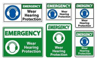 segno di protezione dell'udito di usura di emergenza su priorità bassa bianca vettore