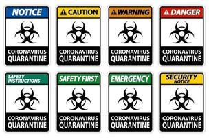 segno di quarantena di coronavirus isolato su sfondo bianco, illustrazione vettoriale eps.10