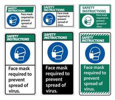 istruzioni di sicurezza maschera per il viso necessaria per prevenire la diffusione del segno del virus su sfondo bianco vettore