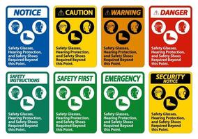 occhiali di sicurezza, protezione dell'udito e scarpe di sicurezza necessari oltre questo punto su sfondo bianco vettore
