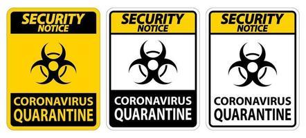 avviso di sicurezza coronavirus quarantena segno isolato su sfondo bianco, illustrazione vettoriale eps.10