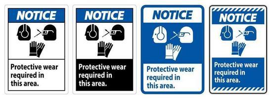 cartello di avviso indossare dispositivi di protezione in quest'area con simboli DPI vettore