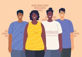 gruppo multietnico di persone insieme, diversità e concetto di multiculturalismo vettore