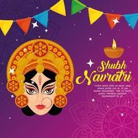 navratri poster celebrazione indù con faccia di durga e decorazioni di ghirlande vettore