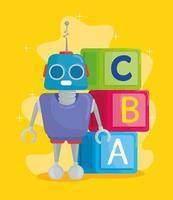 giocattoli per bambini, cubetti di alfabeto con lettere abc e robot vettore