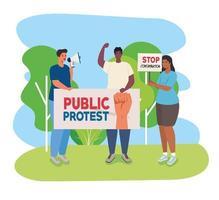 gruppo di persone che protestano, attivisti per il concetto di diritti umani vettore
