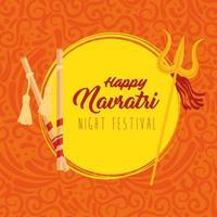 poster di celebrazione indù navratri con decorazioni vettore