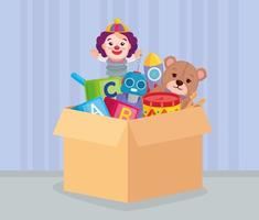 giocattoli per bambini in una scatola vettore