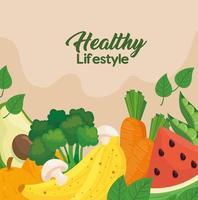 banner di stile di vita sano con verdure, frutta e cibo vettore