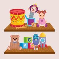 giocattoli per bambini sugli scaffali in legno vettore