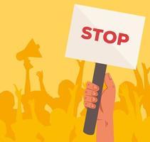 mano con segnale di stop cartello di protesta vettore