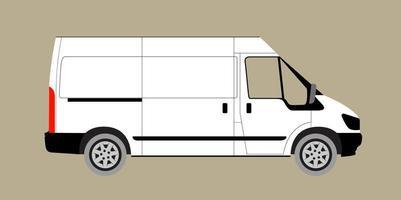 illustrazione vettoriale di furgone bianco. furgone merci realistico. tutti i livelli e i gruppi sono ben organizzati per un facile montaggio. vista dal lato. vettore.
