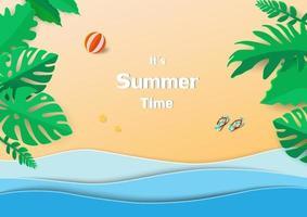 concetto di felice estate, design di arte di carta con foglie tropicali, mare blu e spiaggia