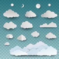 set di sole e nuvole di arte di carta vettore