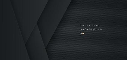 sfondo nero futuristico astratto di forma geometrica con struttura in metallo. design per presentazione, banner, copertina, web, flyer, carta, poster, gioco, texture, diapositiva e powerpoint. illustrazione vettoriale
