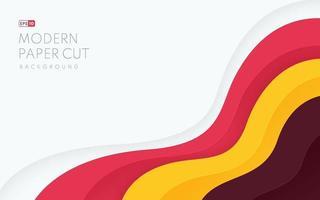 modello astratto sfondo taglio carta in colore marrone giallo rosa bianco. design semplice e minimale con motivo a strati ondulati di colore alla moda con spazio di copia. illustrazione vettoriale