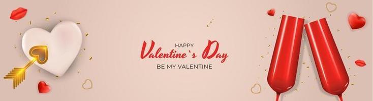 sfondo di carta regalo vacanza di San Valentino con occhiali rossi e forma di cuore. design realistico su sfondo rosa vettore
