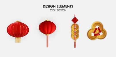 elementi realistici di disegno di festa cinese 3d, lanterne appese e set di raccolta di monete d'oro. illustrazione vettoriale