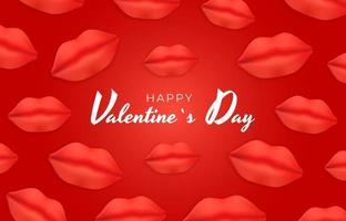 disegno di sfondo di San Valentino con labbra realistiche