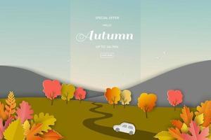 paesaggio di autunno o caduta di sfondo con foglie colorate per la promozione dello shopping