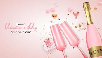 disegno realistico della carta regalo di festa di San Valentino su sfondo rosa