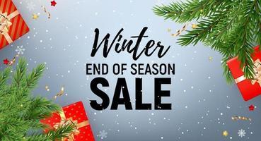 progettazione del fondo di vendita di fine stagione invernale con testo nero su sfondo grigio
