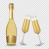 realistico 3d champagne bottiglia d'oro e bicchieri isolati su sfondo bianco. illustrazione vettoriale