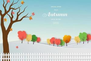 sfondo di vendita autunnale con foglie colorate per promozione dello shopping, banner web o poster