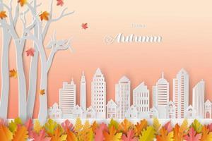sfondo autunnale o autunnale con foglie colorate e città bianca in stile art paper