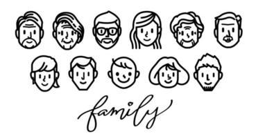 set di icone di volto familiare. vettore di linea.