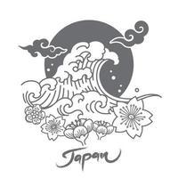 design simbolico del Giappone con grandi onde e fiori di sakura e sole e nuvole orientali. vettore