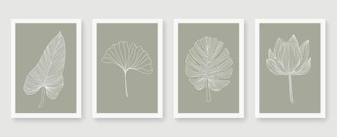 set di foglie di linea bianca di arti astratte vettore