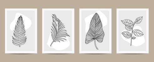 set di poster di contorno di foglie astratte vettore