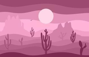 giornata nel vasto deserto americano occidentale con l'illustrazione del paesaggio dell'orizzonte di cactus