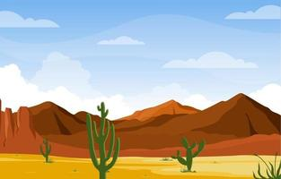 giornata nel vasto deserto americano occidentale con l'illustrazione del paesaggio dell'orizzonte di cactus vettore