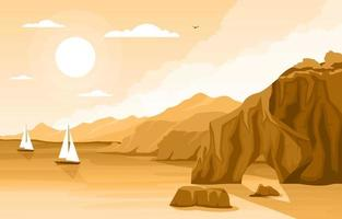 bella illustrazione del paesaggio della spiaggia di panorama vettore