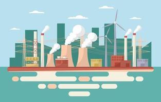 illustrazione piana di edifici di fabbrica industriale vettore