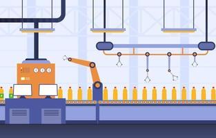 fabbrica industriale con nastro trasportatore e illustrazione di assemblaggio robotico vettore