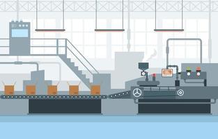 nastro trasportatore di fabbrica industriale e illustrazione di assemblaggio robotico vettore