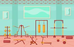 interno di palestra fitness con illustrazione vettoriale attrezzature bodybuilding