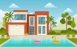 esterno della villa moderna della casa con la piscina all'illustrazione del cortile vettore