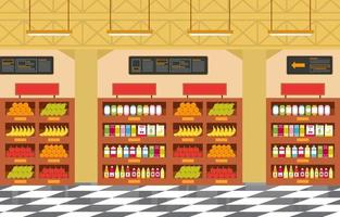 illustrazione piana interna della drogheria del supermercato vettore