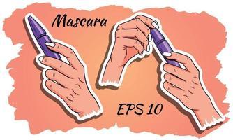 mascara in mani set vettore