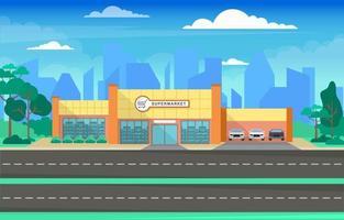 drogheria del supermercato nell'illustrazione piana della città vettore
