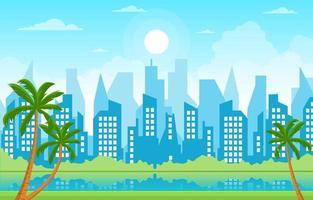 illustrazione del parco, degli alberi e del fiume dell'orizzonte della città vettore